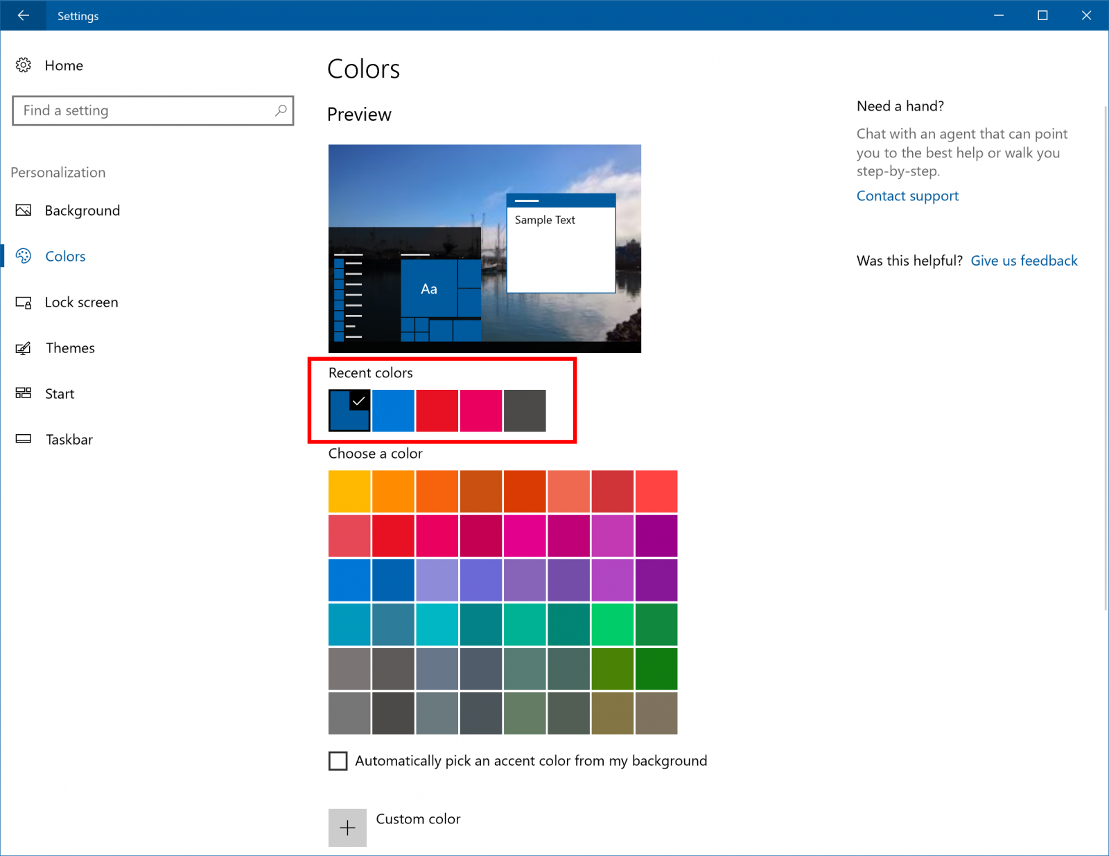 Windows Personalization now supports recent colors